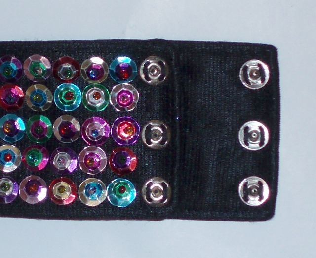 Sequin cuff bracelet with snap closure