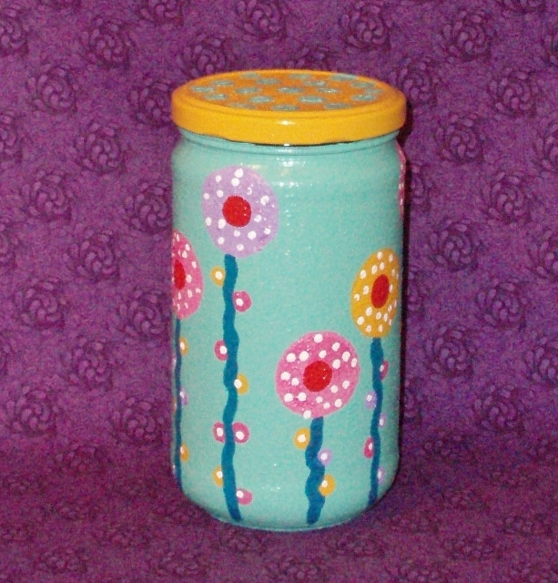 polka dot flower garden jar