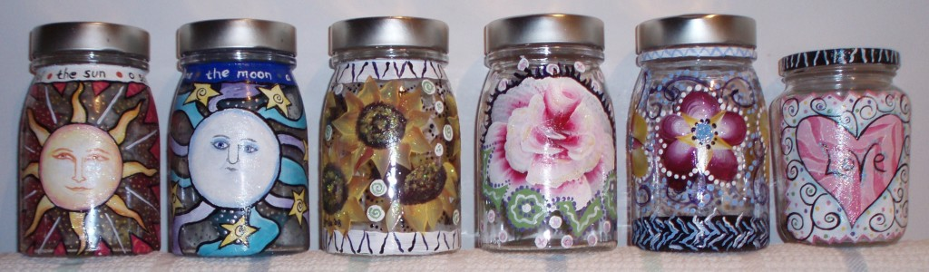 glass jars with one stroke painting
