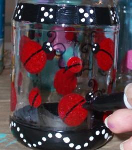 ladybug details with black marker