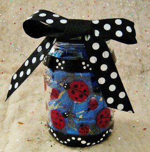 ladybug jar with ribbon