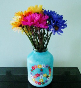 peace sign jar vase