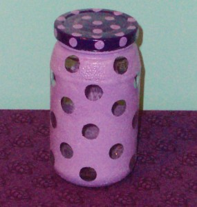 purple polka dot jar