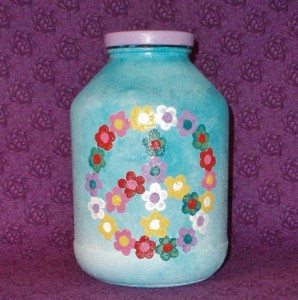 peace sign flower jar