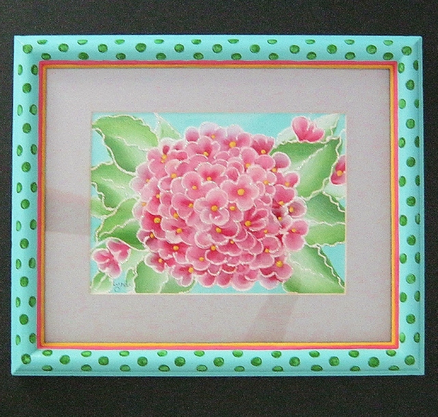 framed pink hydrangea painting