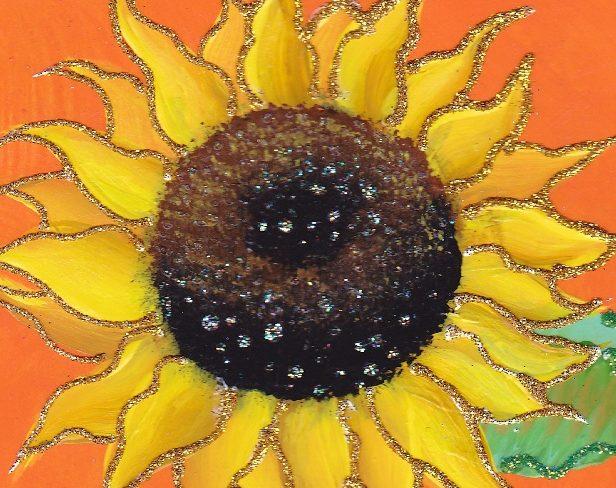 sunflower on orange background