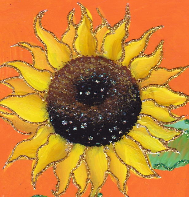 sunflower on orange background