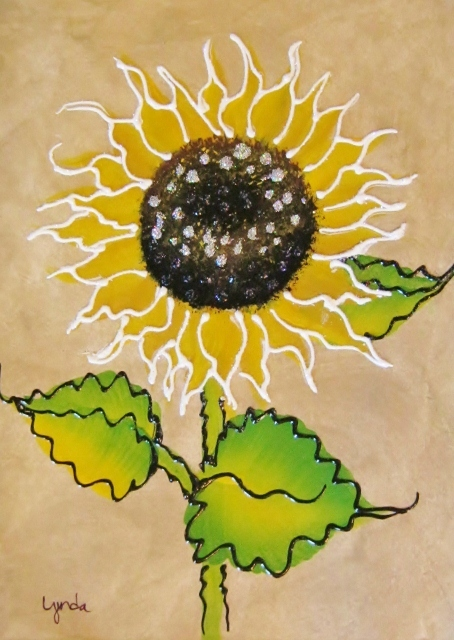 sunflower on brown background