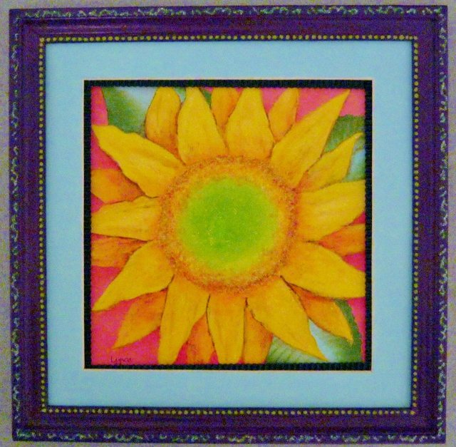 sunflower painting in purple frame