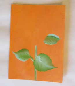 painting sunflower leaves and stem