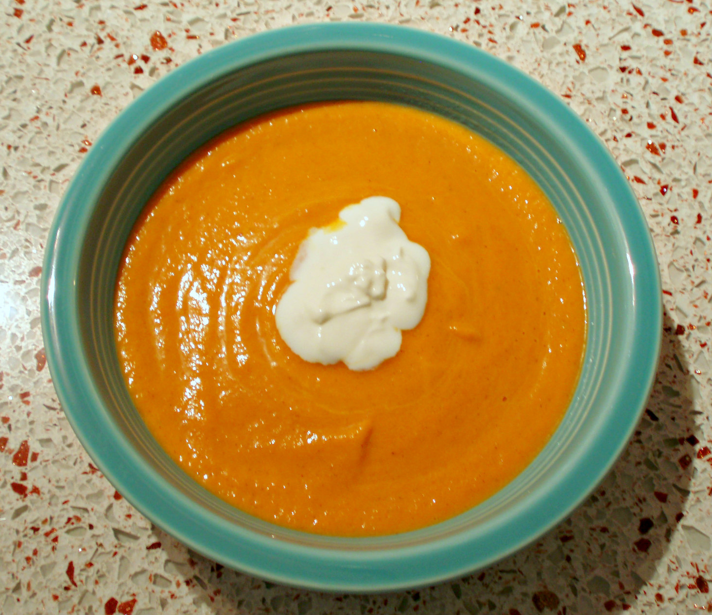 Cream of carrot soup with pie spice