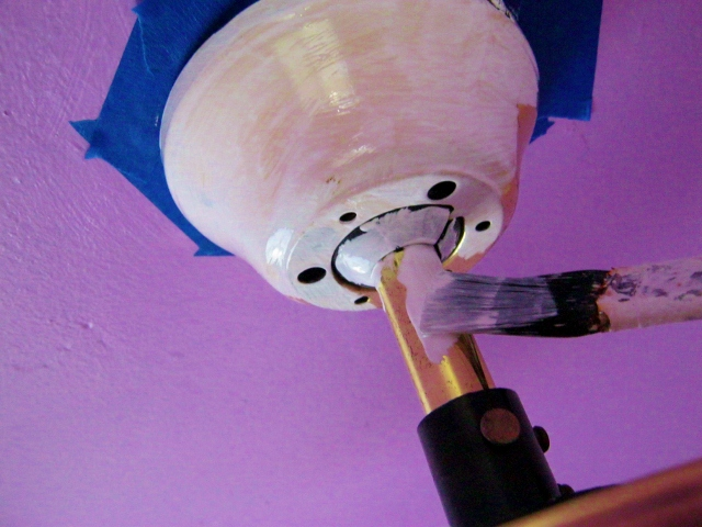 primer coat applied to ceiling fan