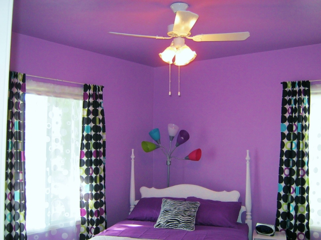 bedroom after photo with painted ceiling fan