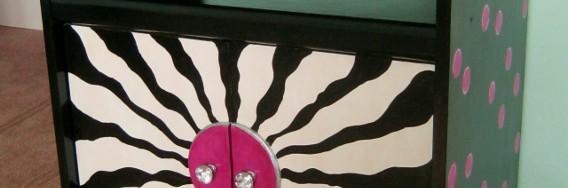 Photo of black and hot pink polka dot cabinet © 2014 by Lynda Makara
