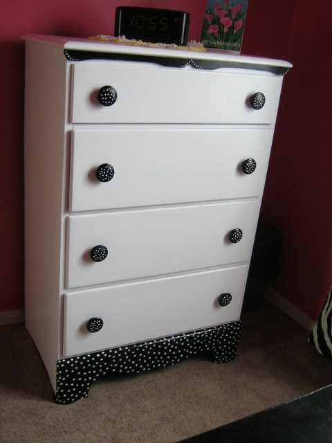 after photo: black and white polka dot chest of drawers