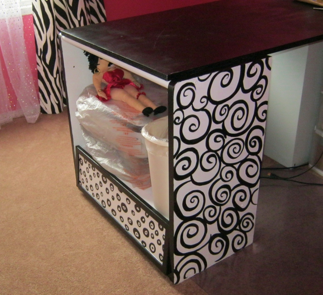 after photo: funky black and white cabinet