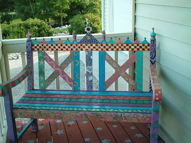 funky painted bench