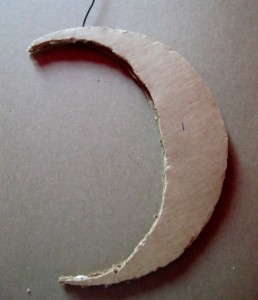 gluing two layers of cardboard for moon