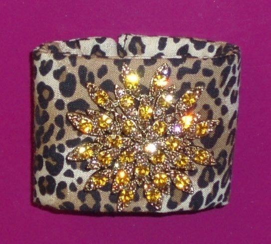 animal print fabric cuff bracelet