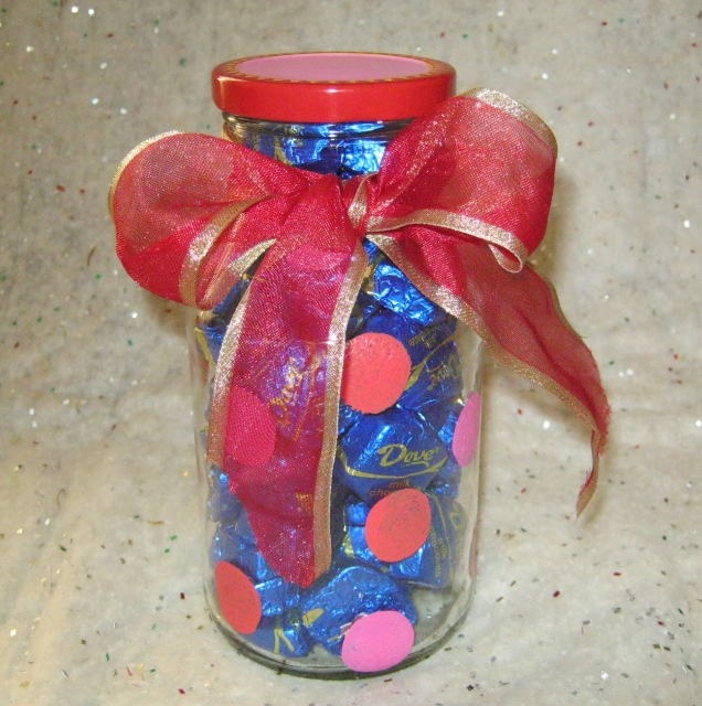 Handpainted recycled jar