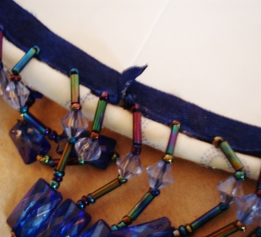 gluing beaded fringe to lampshade