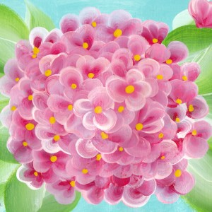 pink hydrangea painting