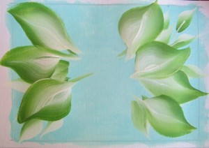 leaves added to hydrangea painting