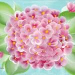 pink hydrangea painting before glitter