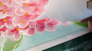 dimensional paint added to hydrangea painting