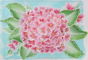 hydrangea painting with embellishments
