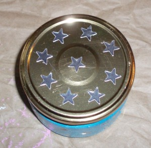 star stickers on jar lid