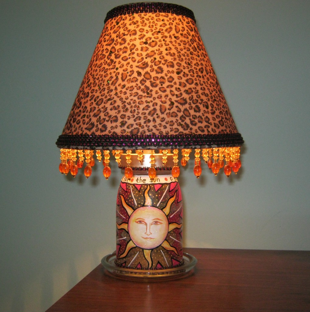 sun face mason jar lamp