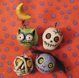 paperclay zombie ornaments