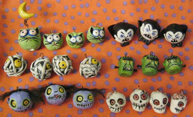 assorted clay zombie and monster ornaments