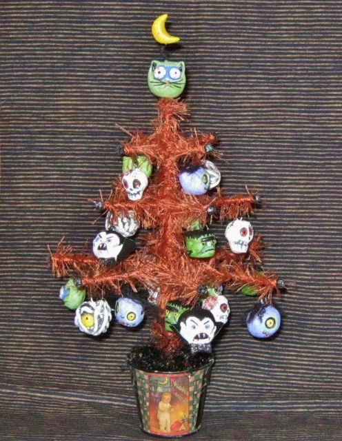 zombies and monsters tabletop tree by Lynda Makara
