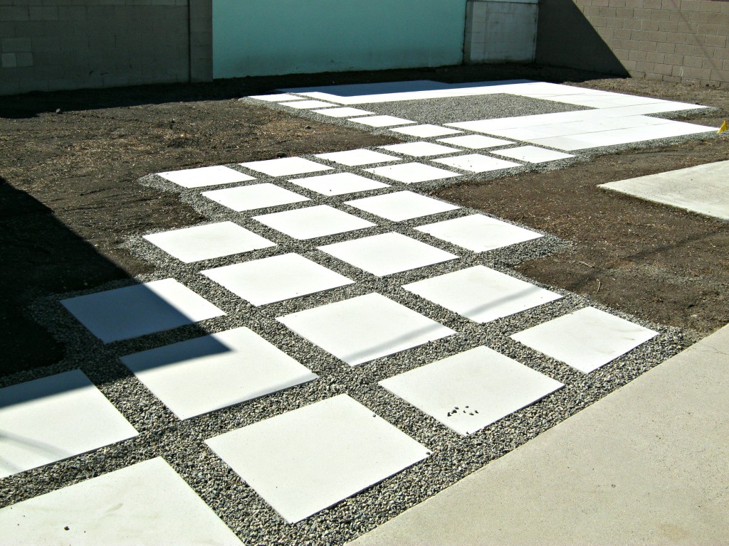 "24"" concrete patio pavers installed"