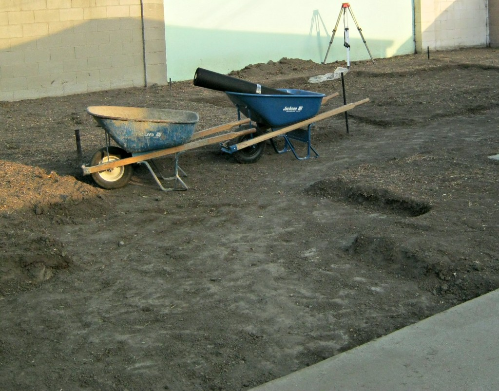 digging out and leveling ground