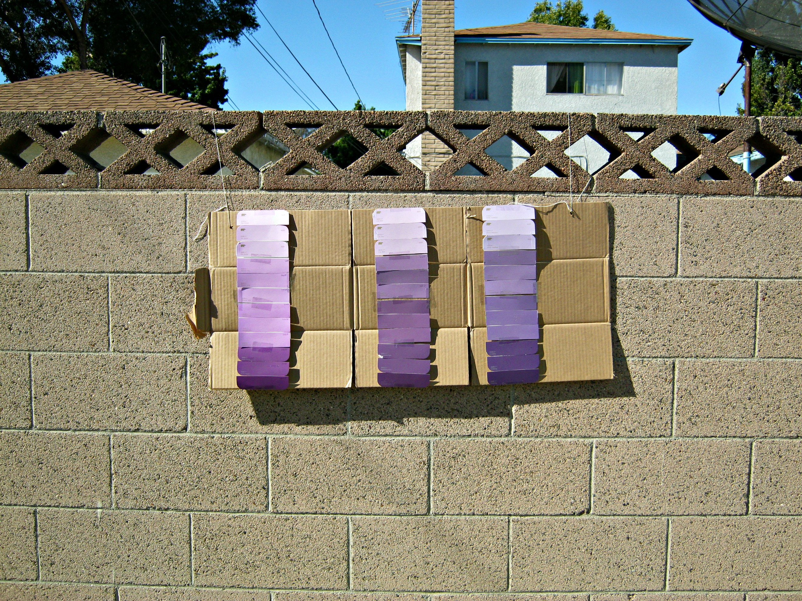 Amazing Paint Swatches On Cinderblock Wall