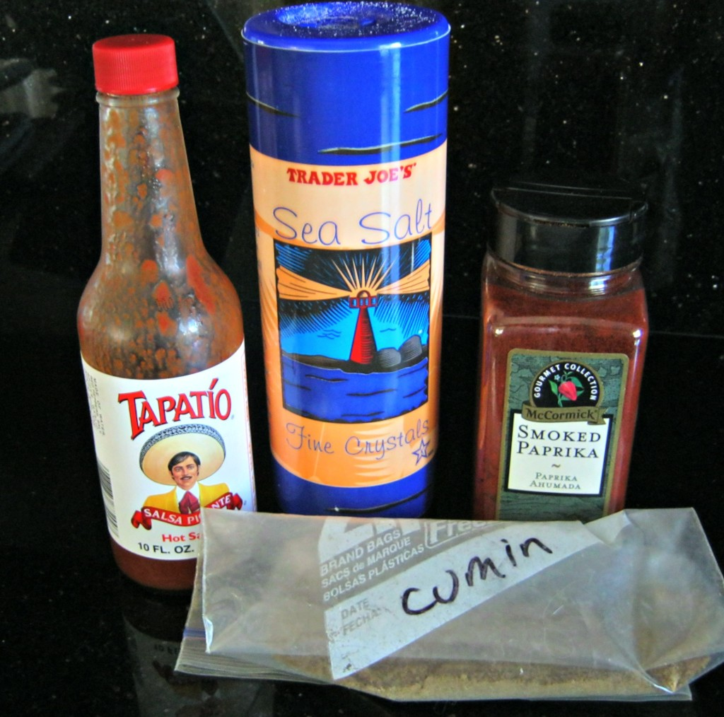 hot sauce, sea salt, smoked paprika, ground cumin