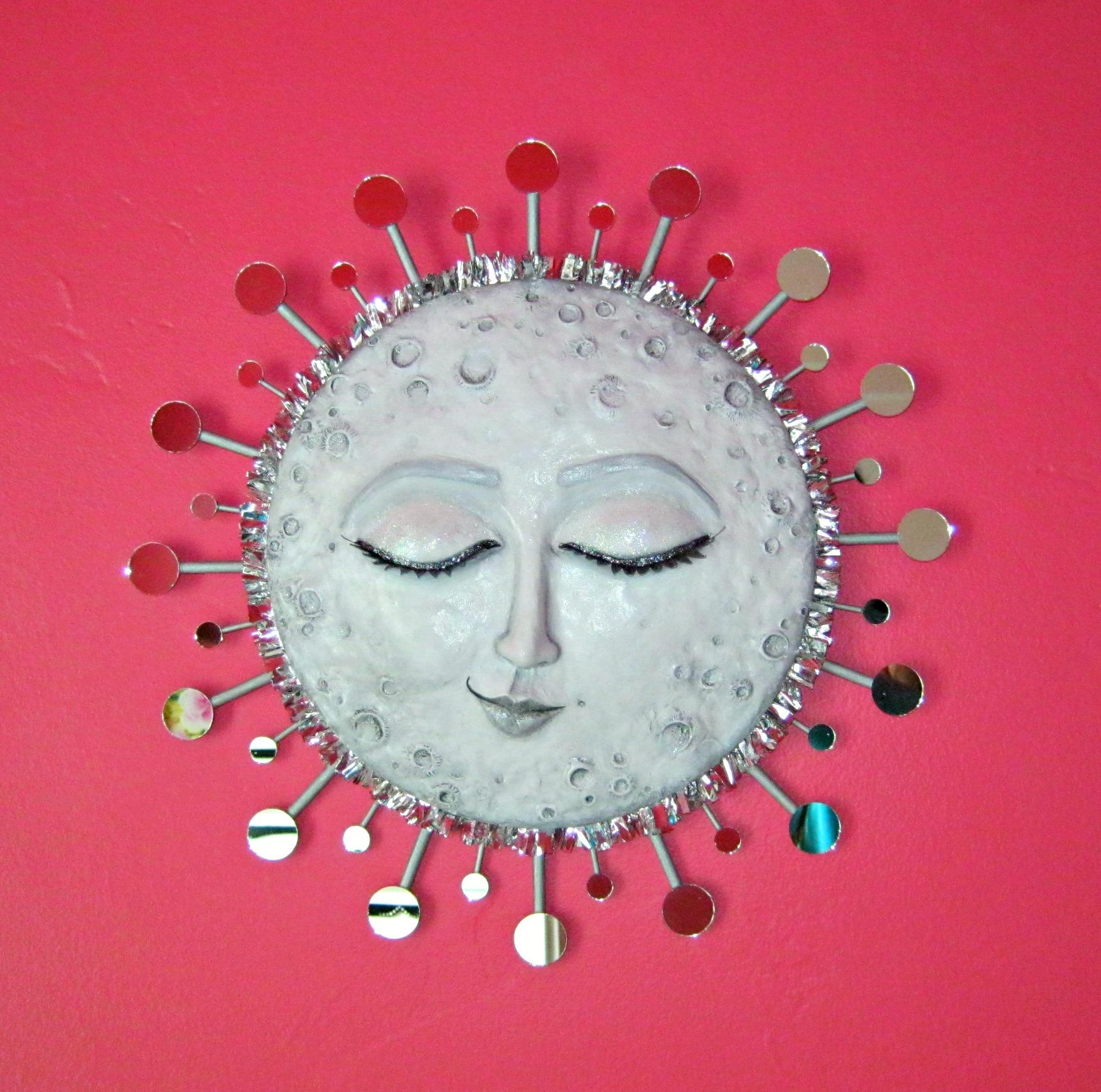 paperclay moon10 & Sleepy Moon wall art paper clay tutorial | Lynda Makara