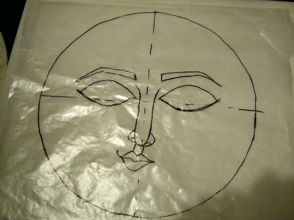 drawing on wax paper of sleepy moon wall art