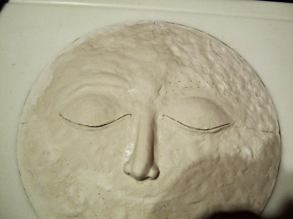 right eyebrow finished on moon sculpture