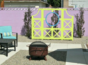 fire pit and trellis