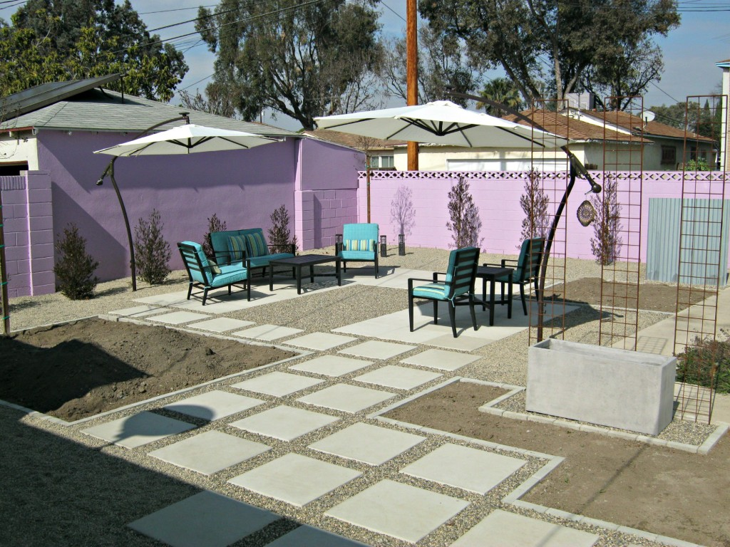 New patio furniture and umbrellas