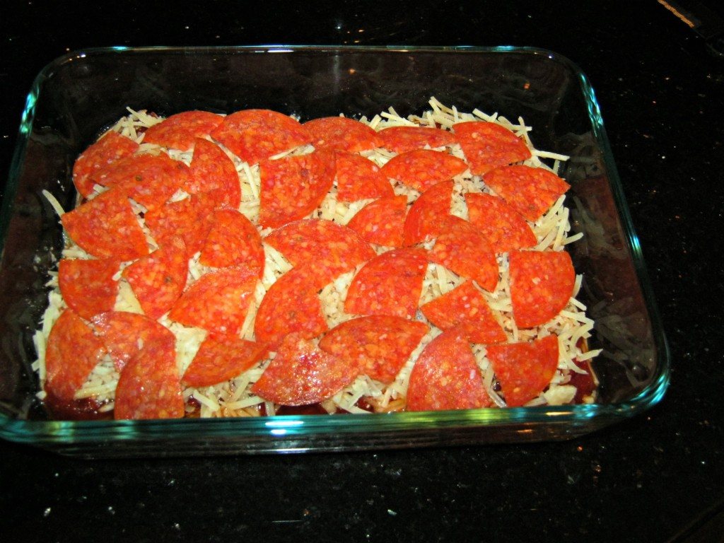 Fourth layer: pepperoni