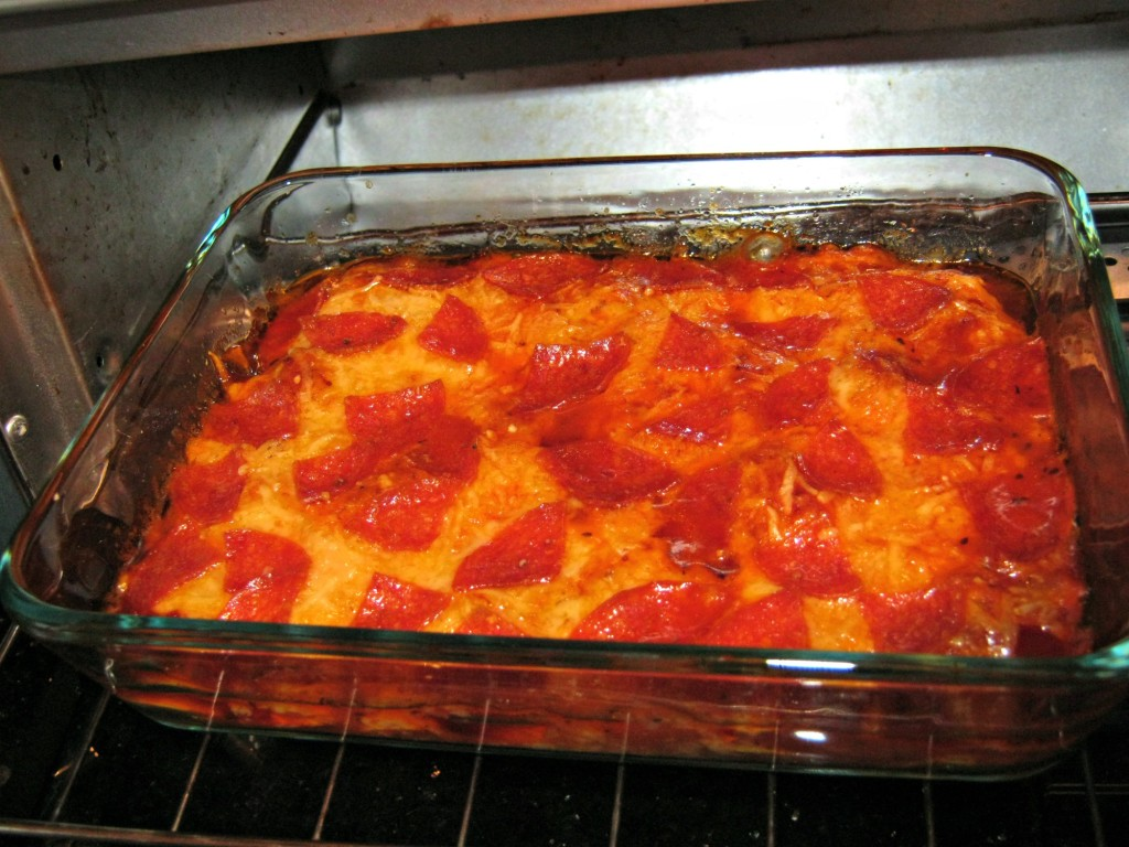 Baked pepperoni pizza squash