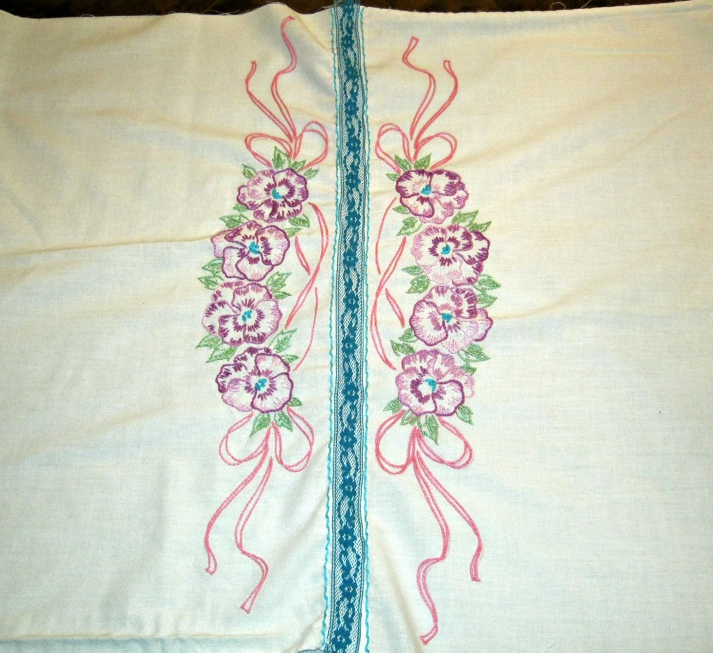 Center front seam of two pillowcases sewn together