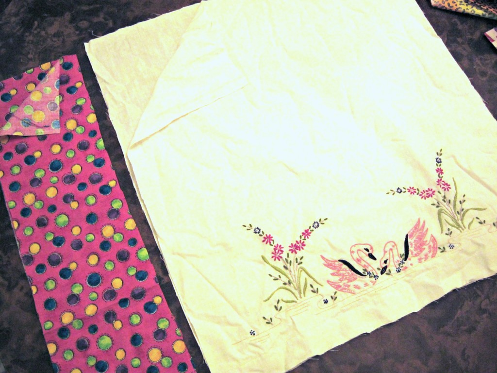 Pieces cut out for color blocked pillowcase top