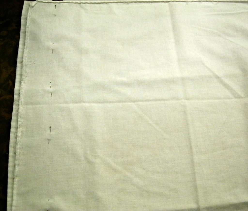 Pinning back seam of pillowcase top