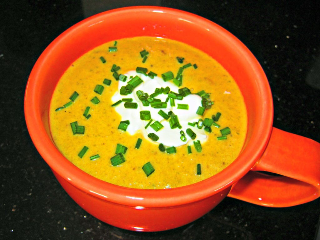 Roasted yellow squash jalapeno soup